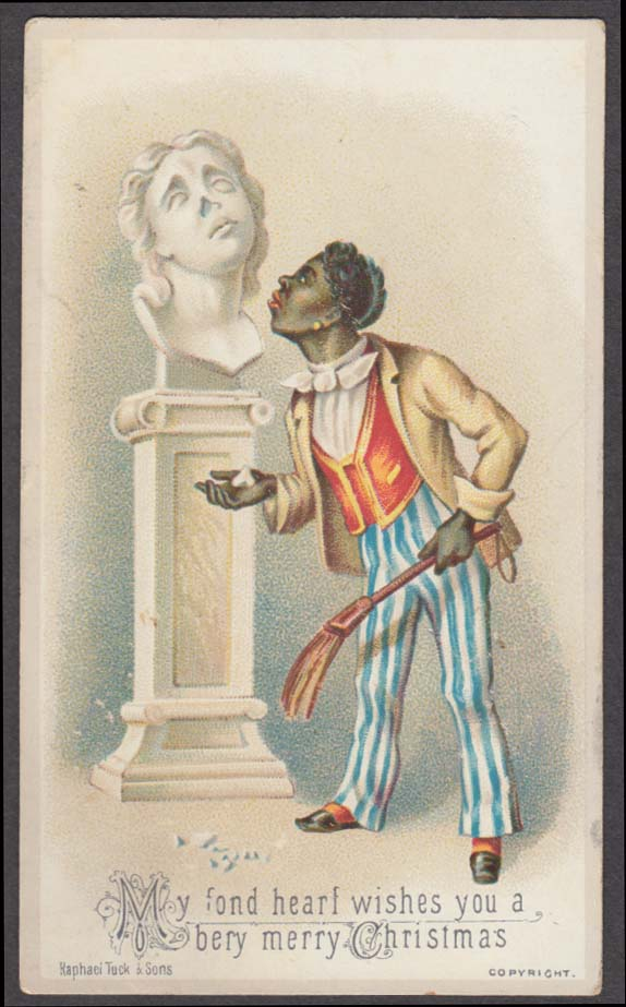 My fond heart wishes you a bery merry Christmas card Negro servant 1880s