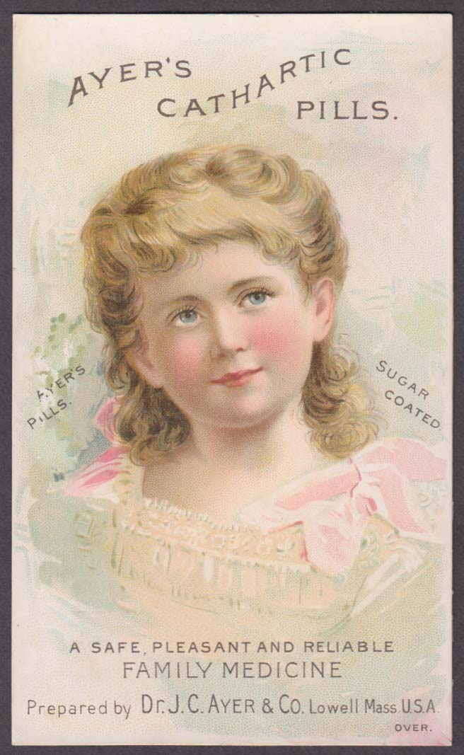 Ayer's Catahartic Pills Family Medicine trade card 1880s pretty little blonde
