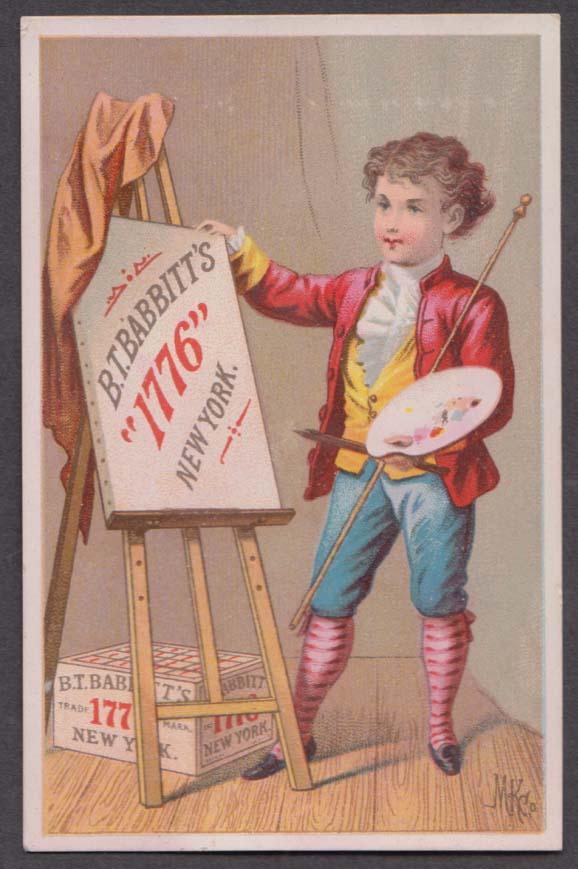 B T Babbitt's 1776 Soap trade card 1880s boy artist with easel