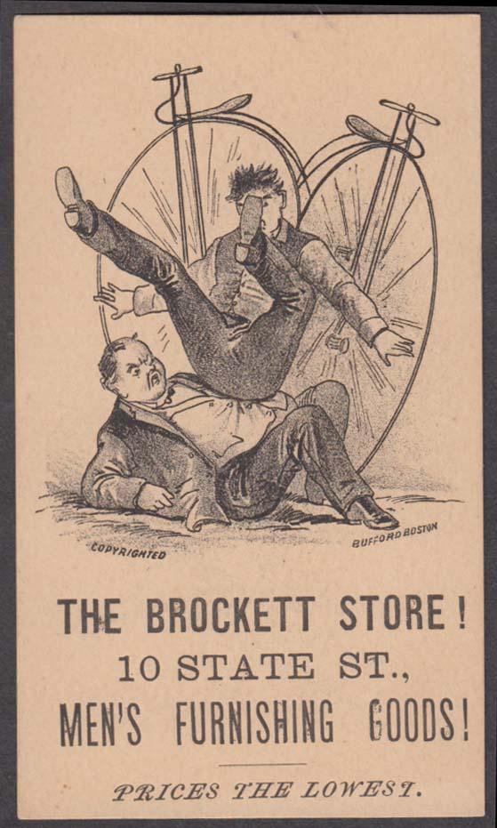 Brockett Men's Furnishings trade card 1880s pennyfarthing high-wheel bicycles