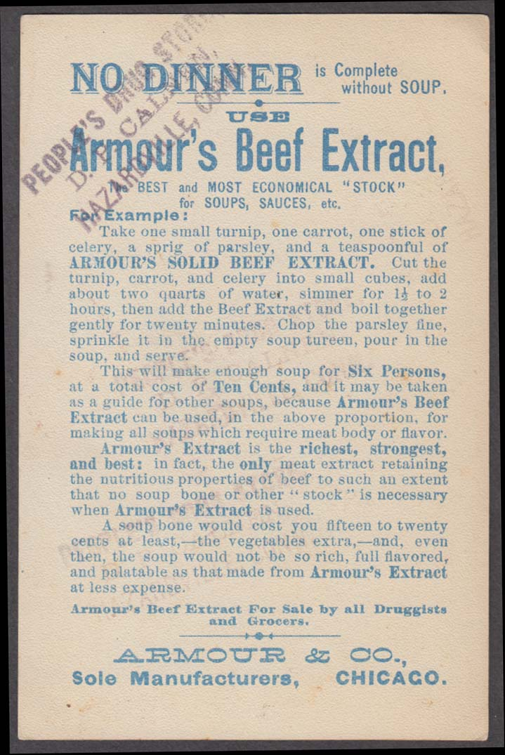 Armour's Beef Extract for Soup trade card 1880s Connoisseur monk