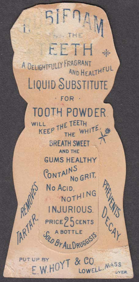 Hoyt's German Cologne trade card bookmark Lowell MA Rubiforam for Teeth