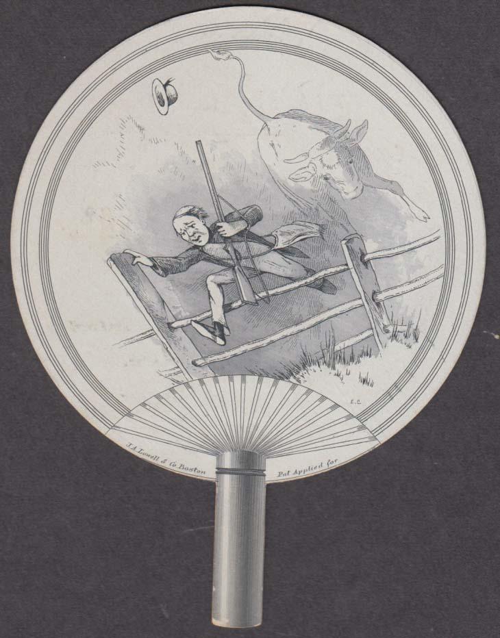 Boston Shoe Store Hartford CT fan-shape trade card 1880s bull chases hunter