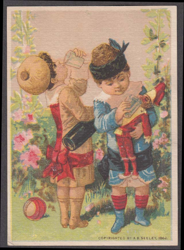 A & P Tea Company trade card 1880s children giving doll drink