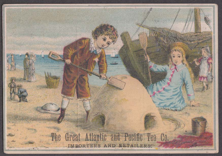 Great Atlantic & Pacific Tea Co trade card 1880s boy builds sandcastle