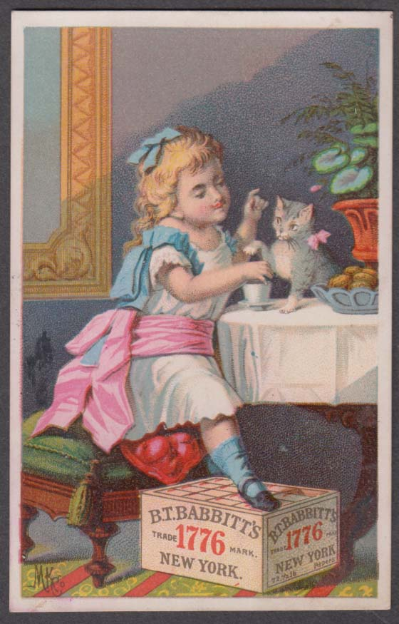 B T Babbitt's 1776 Soap trade card 1880s blonde girl & kitten