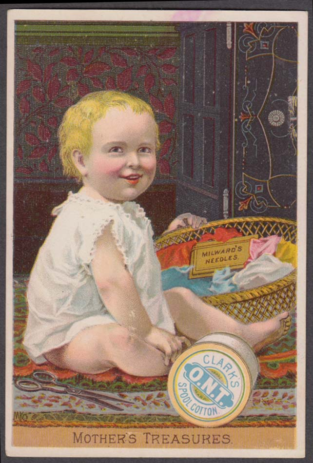 Image for Clark's Standard Thread Milward Helix Needles trade card 1880s  blonde baby