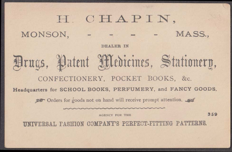 H Chapin Monson MA drugs trade card 1880s Universal Fashion boy girl hold hands