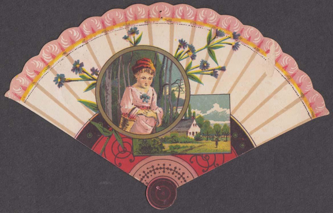 Boston & Meriden Clothing Co fan-shape trade card Meriden CT 1880s