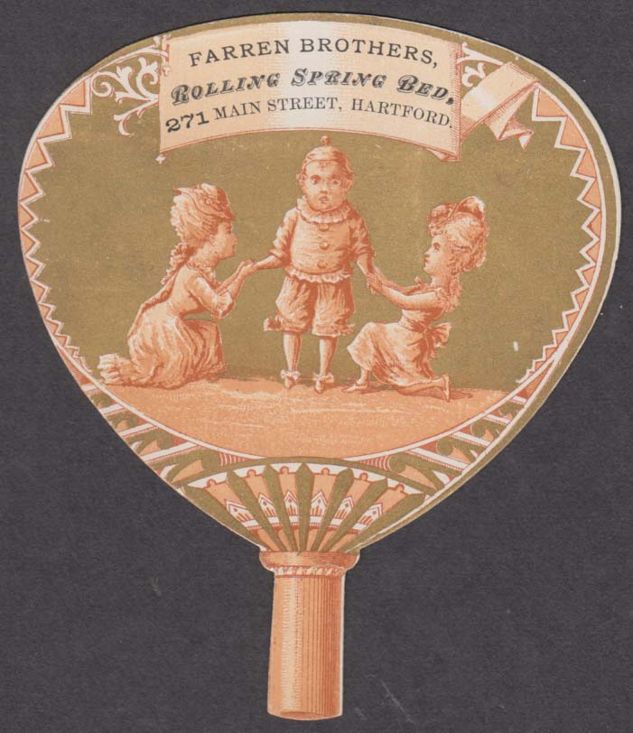 Farren Brothers Rolling Spring Bed Hartford CT fan-shape trade card 1880s