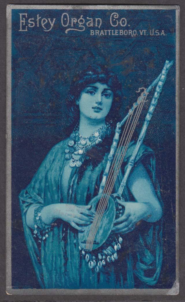 Image for Estey Organ Co Brattleboro VT trade card 1880s gypsy 2-neck 5-string banjo