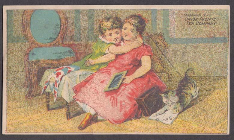 Image for Union Pacific Tea Company trade card 1880s girls hug; cat plays