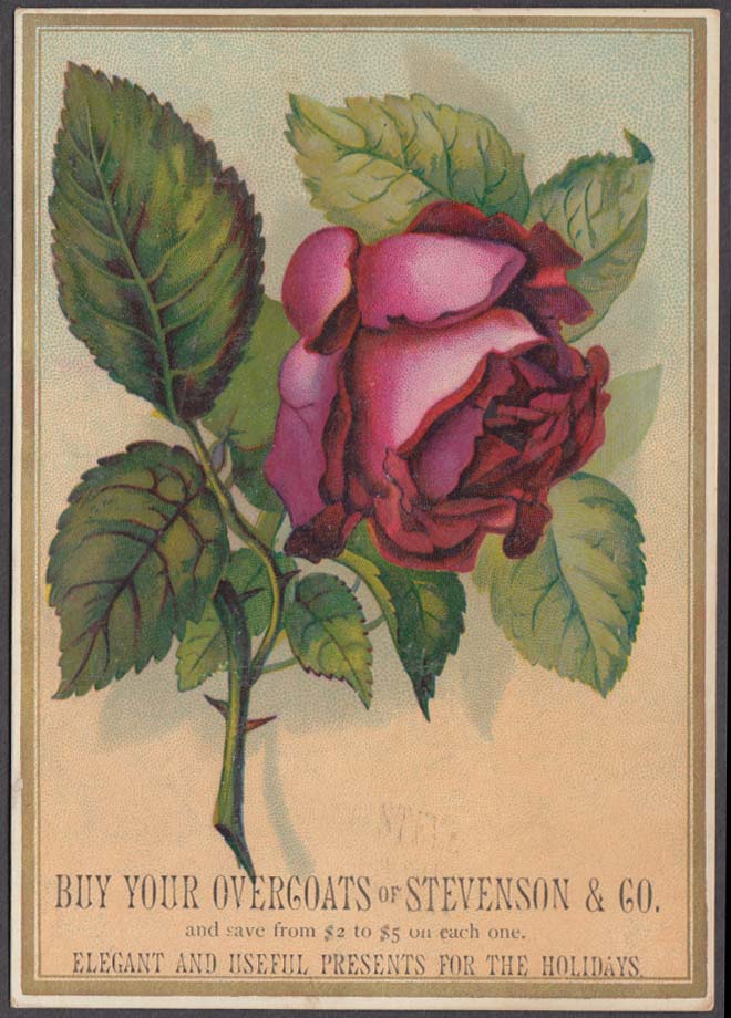 Buy Your Overcoats at Stevenson & Company trade card 1880s big red rose