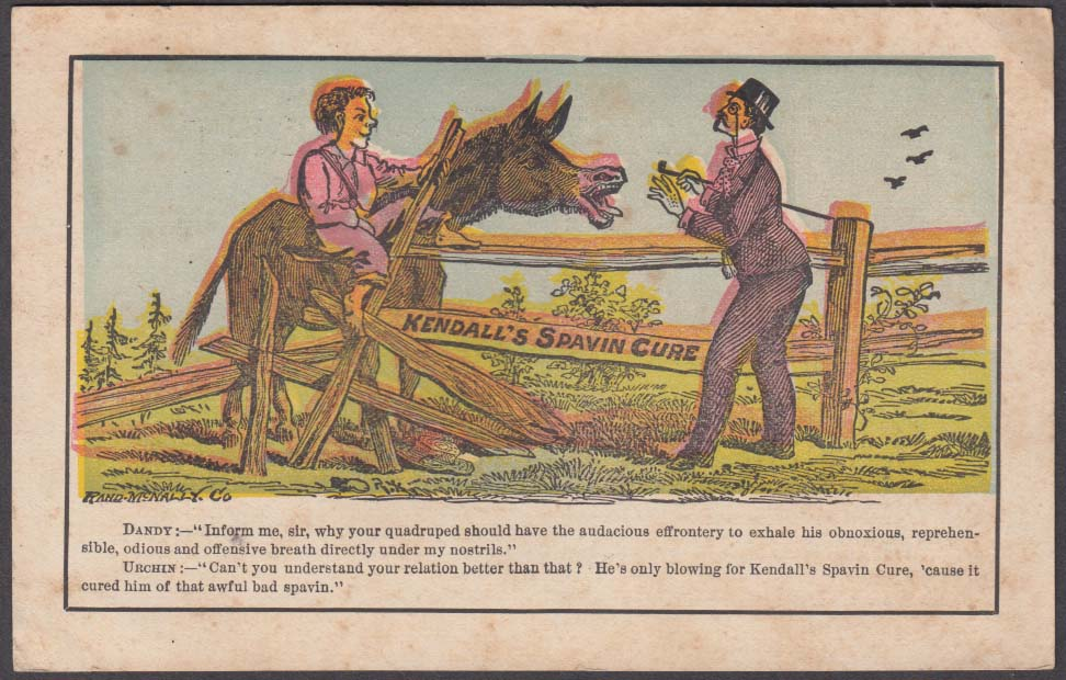 Kendall's Spavin Cure trade card Woodroffe-Walsh Bohemian Glass Blowers 1880s