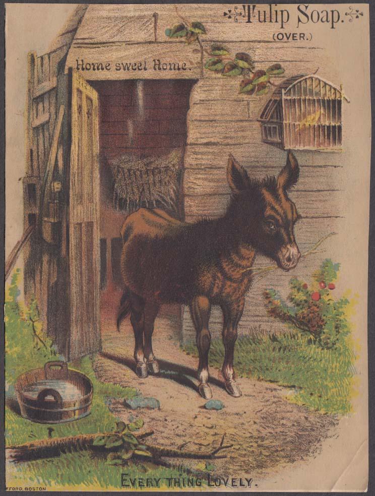 C L Jones Tulip Soap trade card 1880s donkey Home Sweet Home