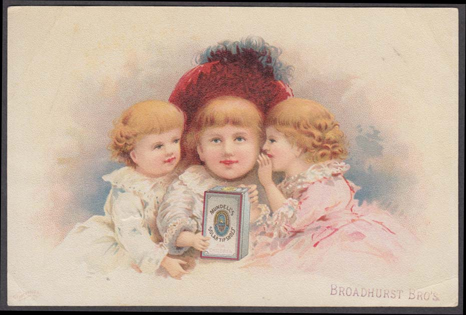 Image for Mundell's Solar Shoe Tips trade card 1880s three little girls red feathered hat