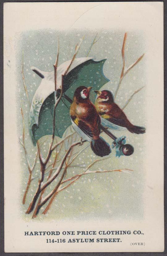 Image for Hartford One Price Clothing trade card 1880s winter birds shelter under umbrella
