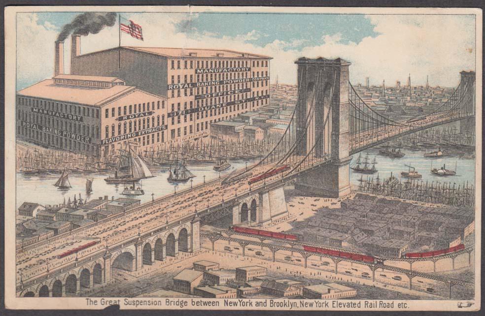 Brooklyn Bridge & Elevated RR trade card Royal Baking Powder factory 1880s