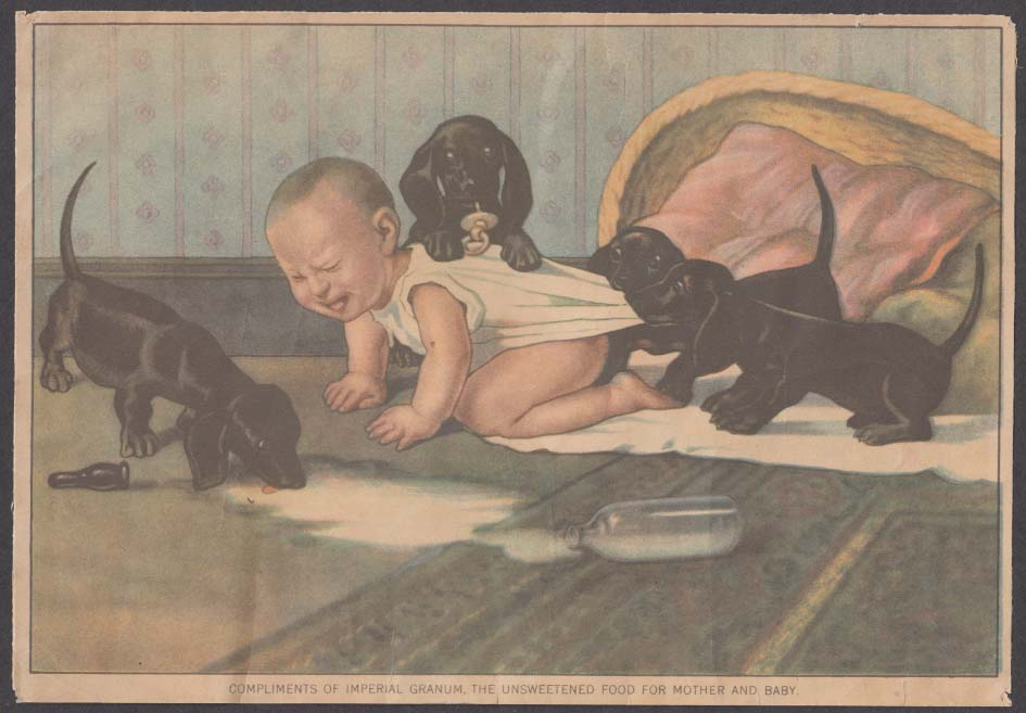 Image for Imperial Granum Food for Mother & Baby trade card 1880s dachshunds & baby