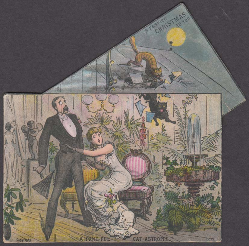 Pane-ful Cat-Astrophe Christmas card cats fall through roof into parlor 1880s