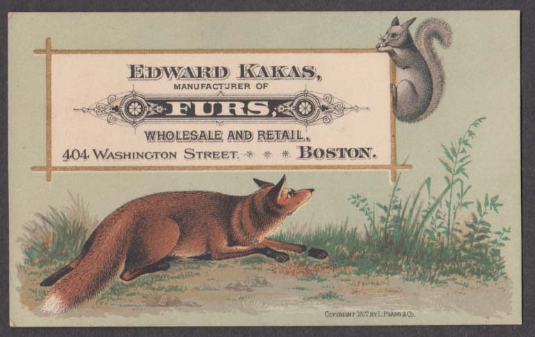 Image for Edward Kakas Furs Boston MA trade card 1880s fox stalks squirrel