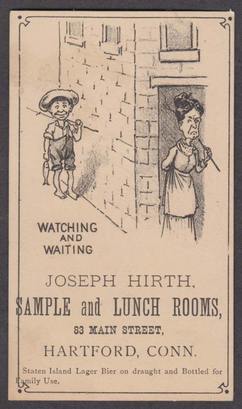 Image for Joseph Hirth Sample & Lunch Rooms trade card Hartford CT 1880s mother w/ switch
