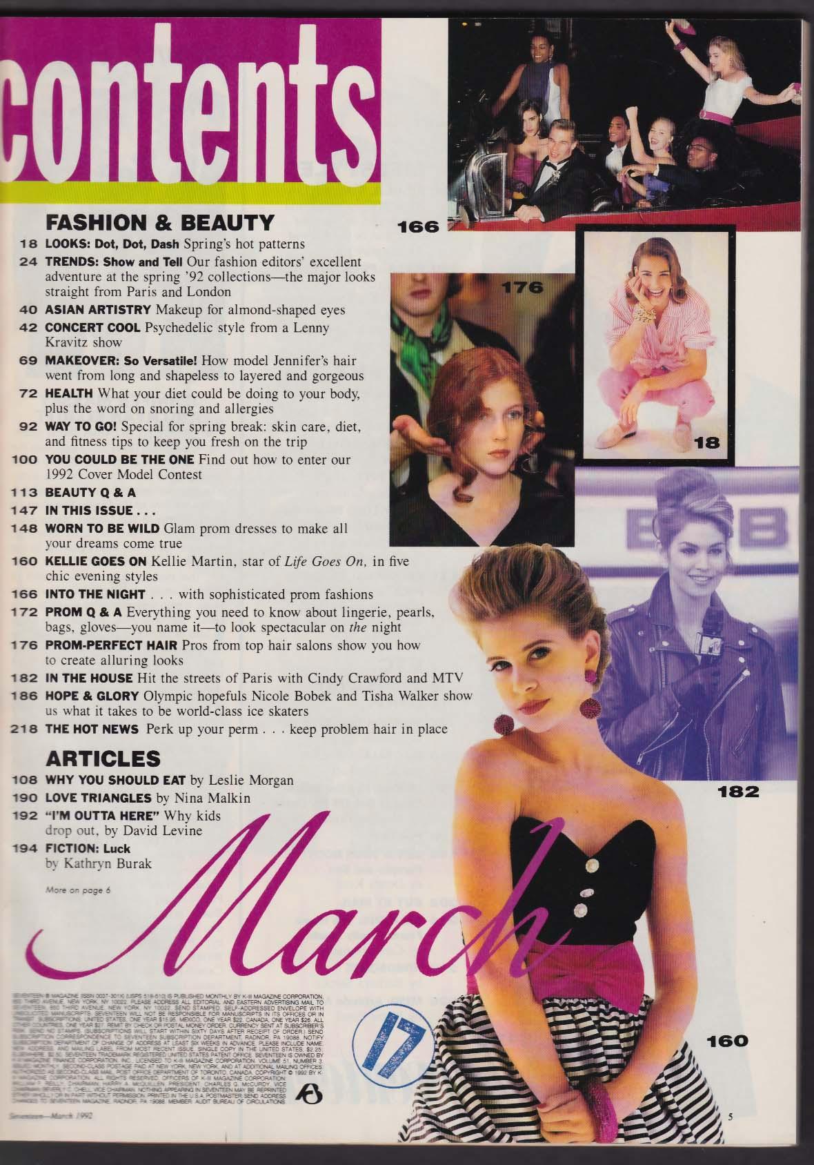 SEVENTEEN Cindy Crawford Kellie Martin John Cusack Brad Pitt 3 1992