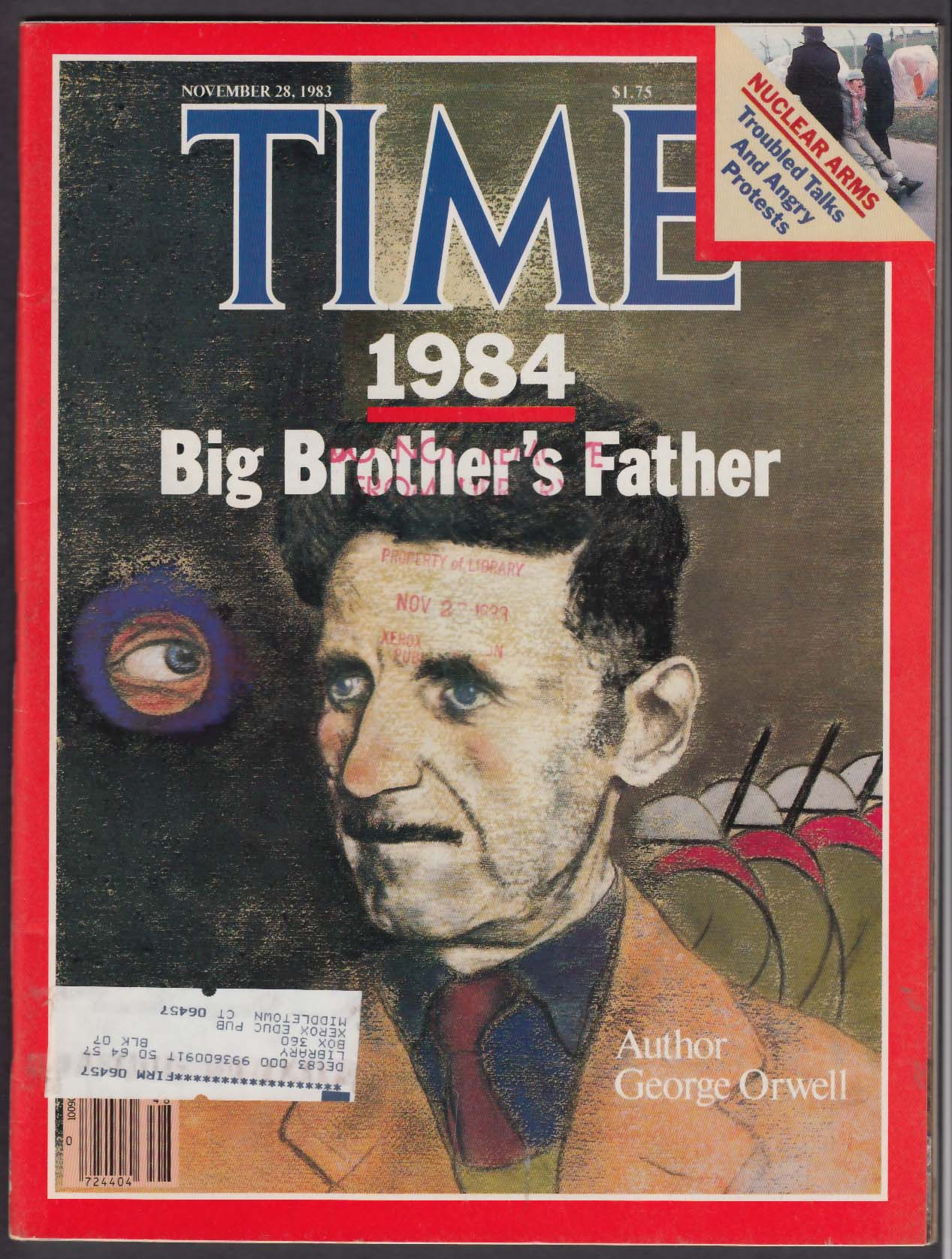 TIME George Orwell 1984 Big Brother Arafat Nuclear Arms 11/28 1983