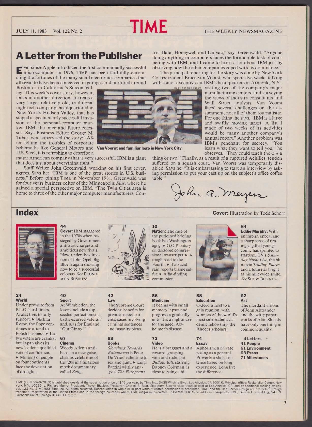 TIME IBM Chairman John Opel Eddie Murphy PLO Arafat Wimbledon 7/11 1983