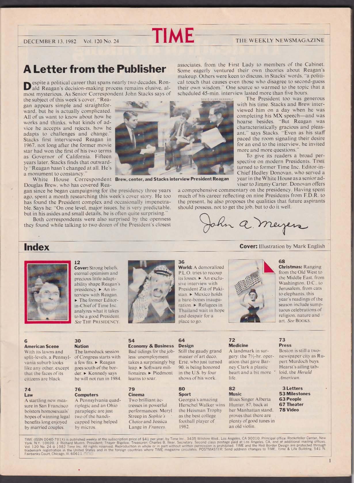 TIME Ronald Reagan PLO Arafat Zia Pakistan Thailand Refugees 12/13 1982