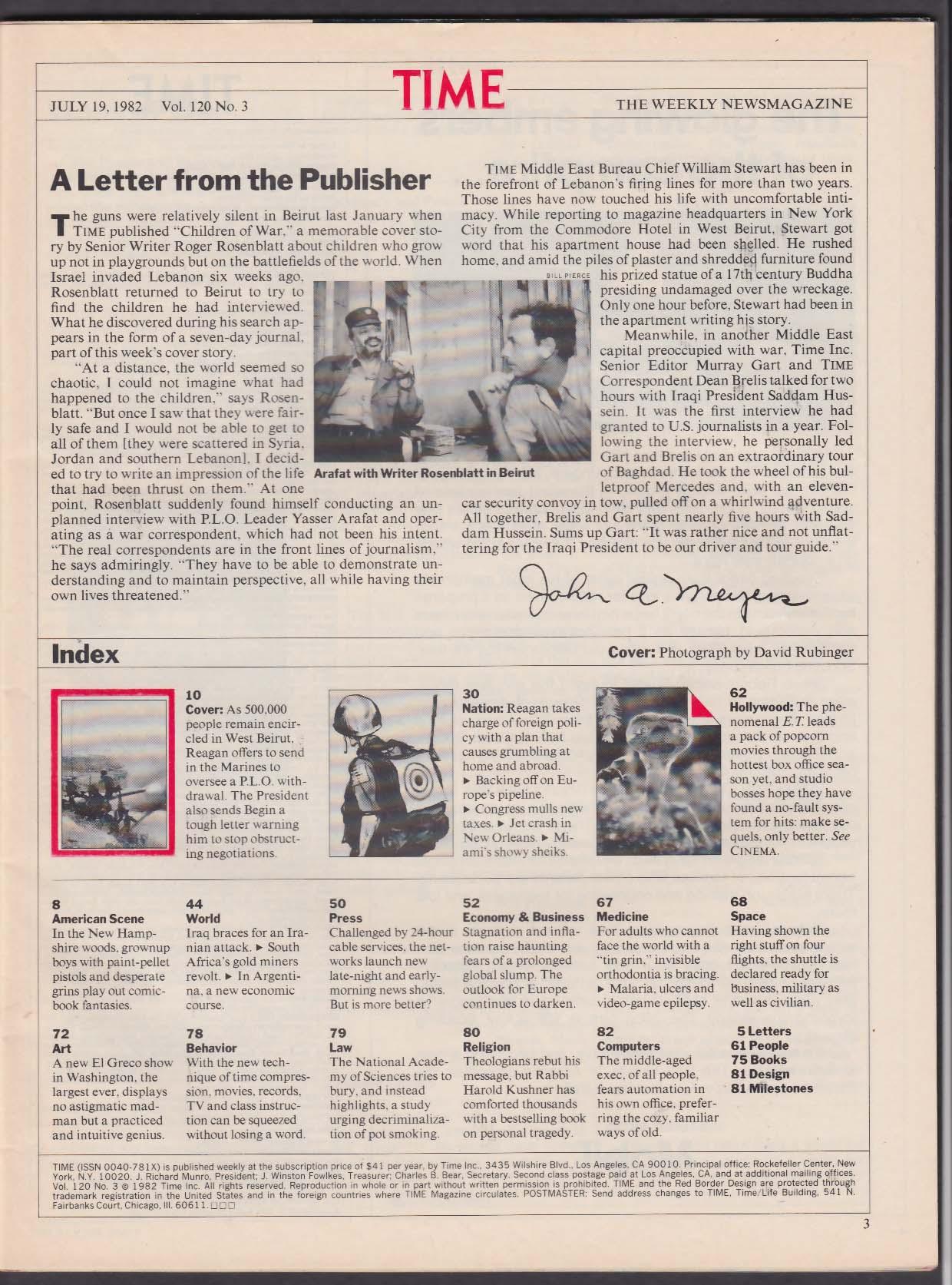 TIME Beirut Lebanon Arafat Begin Reagan Israel ET Extra-Terrestrial 7/19 1982