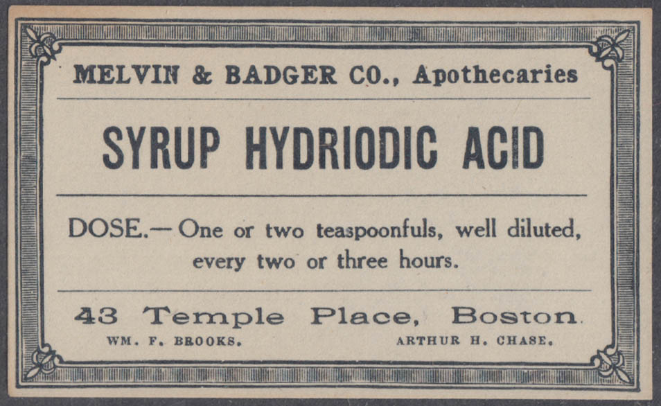 Melvin & Badger Apothecaries unused bottle label Syrup Hydriodic Acid
