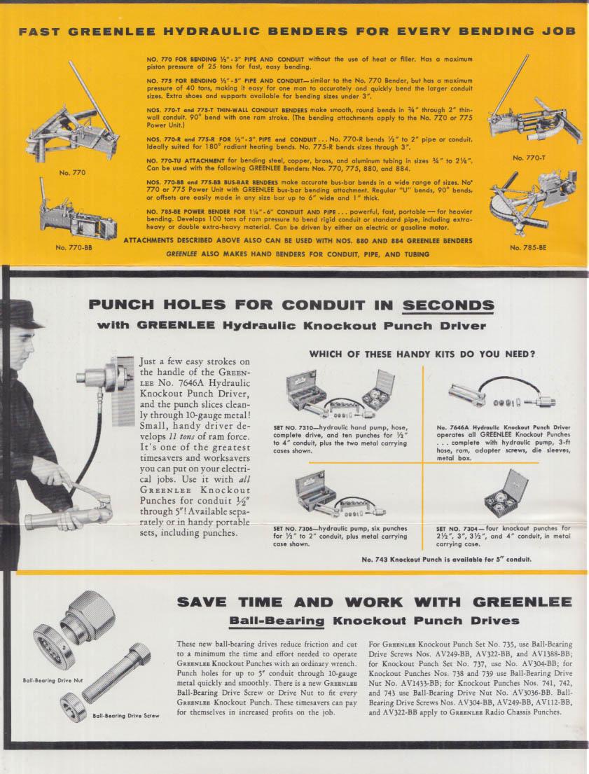 Greenlee Pipe Benders & Industrial Tools mailer Rockford IL 1957