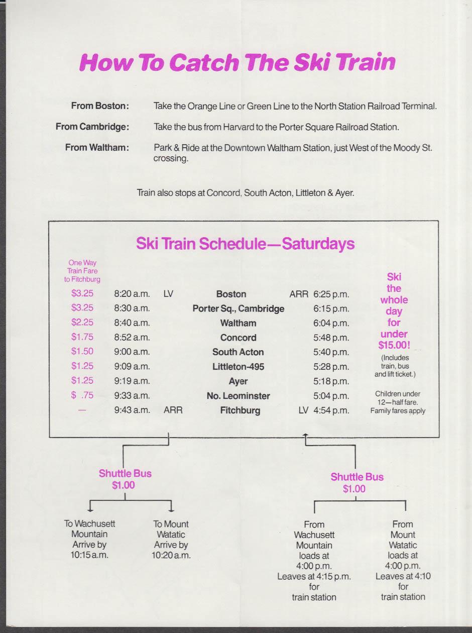 MART Railroad Take the Ski Train! Timetable 1980s Wachusett Watatic