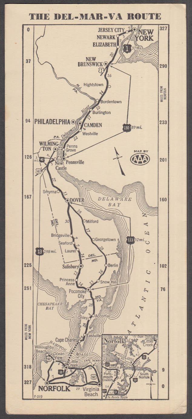 Del-Mar-Va Route strip map New York-Jacksonville 1939