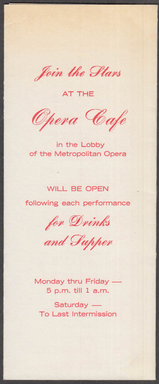 Join the Stars at the Opera Café: Metropolitan Opera 1970-71 Schedule