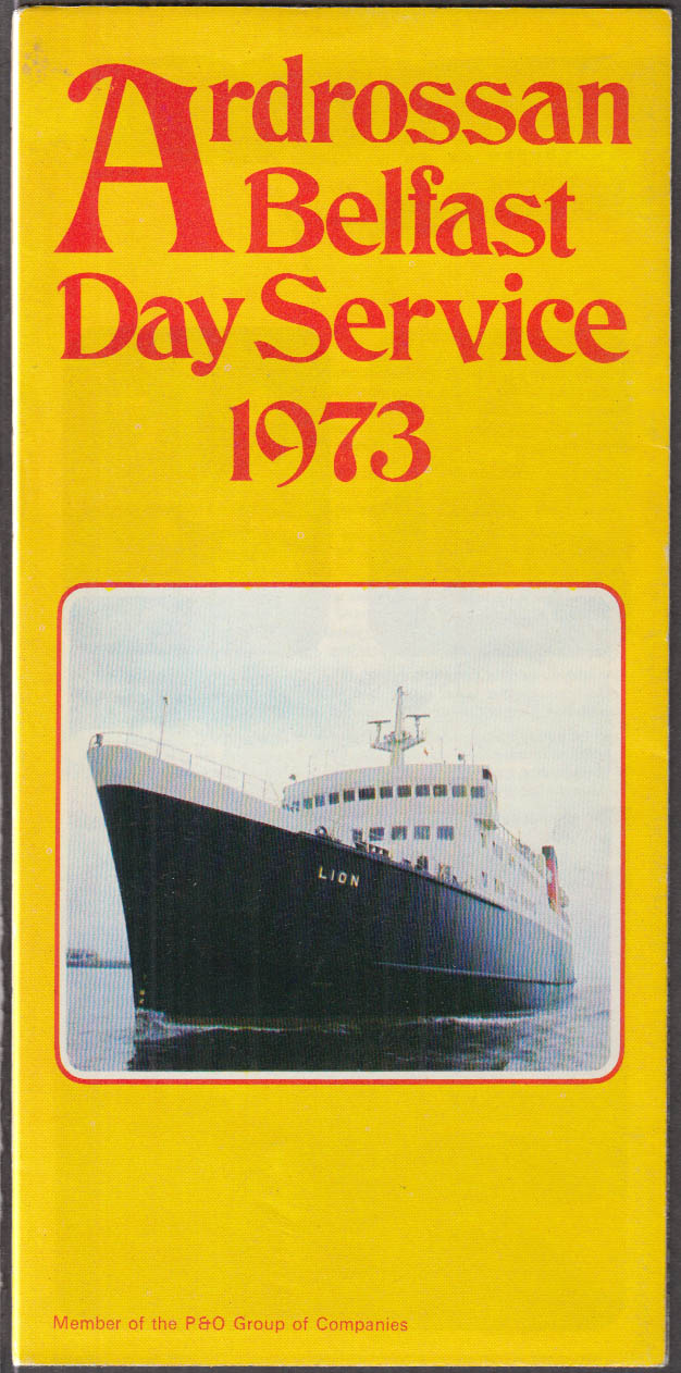 Androssan-Belfast Day Service / Liverpool Belfast Night Service schedule 1973