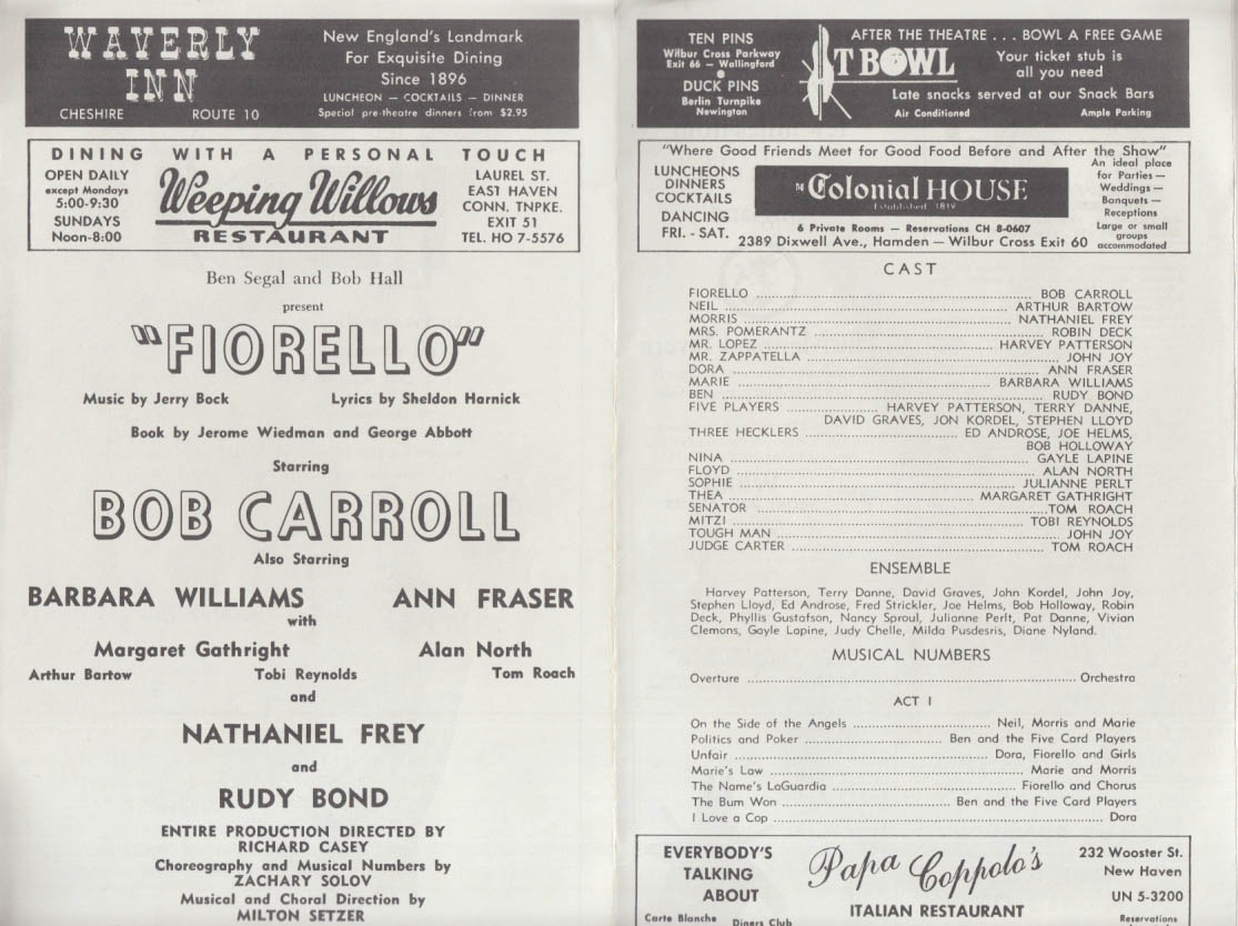 Bob Carroll in Fiorello: Oakdale Musical Theatre program 1962