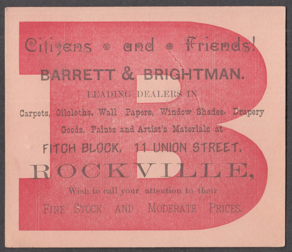Barrett & Brightman Carpets Wallpaper Shades Paint Rockville CT trade card 1880s