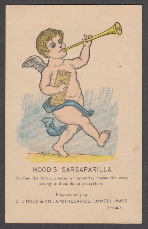 Image for Hood's Sarsaparilla Purifies the Blood Lowell MA trade card 1880s cherub & horn