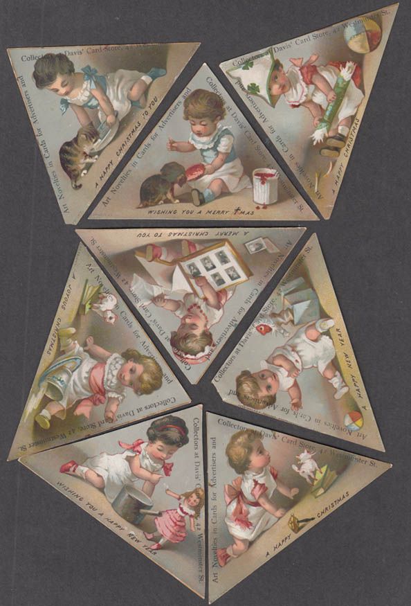 8 Christmas New Year children playing trade cards Davis Card Shop Prov RI 1880s