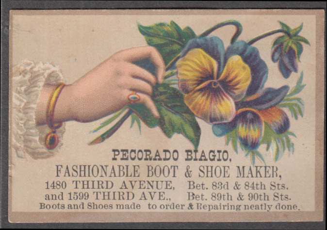 Image for Pecaorado Biagio Boot & Shoe Maker trade card 1880s New York City