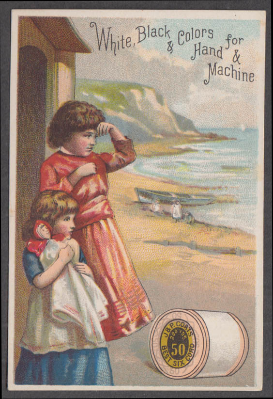 Image for J&P Coats Thread White Black & Colors trade card 1880s Children at beach