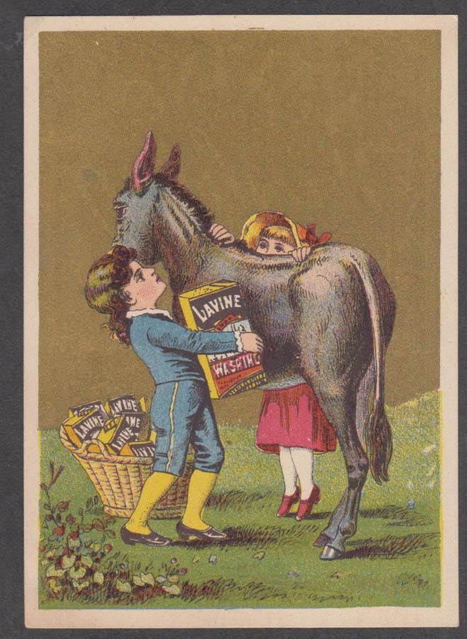 Children load a donkey Lavine Soap trade card 1880s Hartford CT
