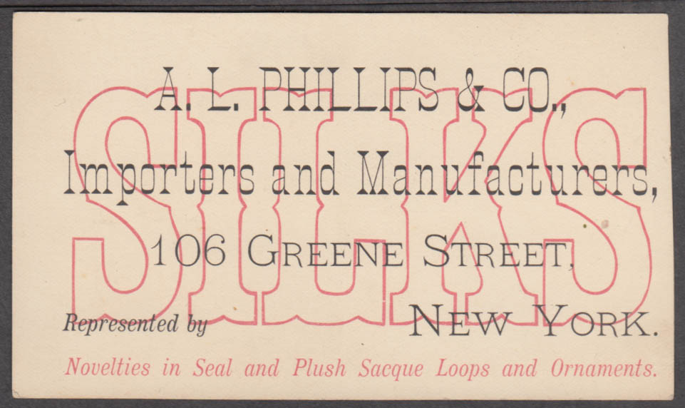 A L Phillips Silk Novelties in Seal Plush Sacque & Ornaments trade card 1900s NY
