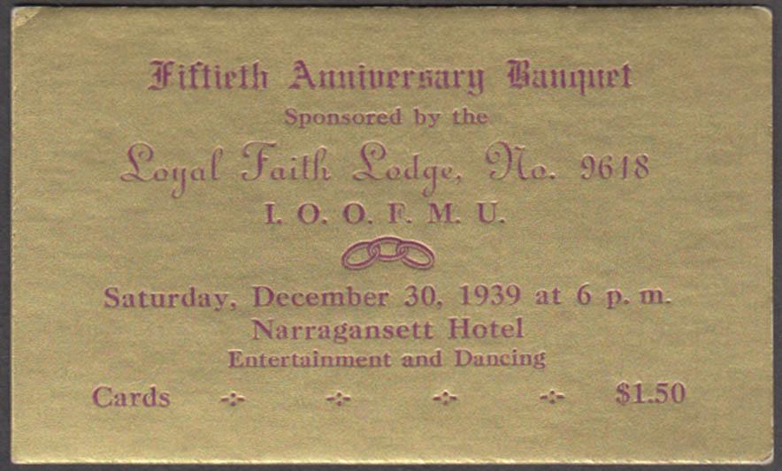 Loyal Faith Lodge #9618 Odd Fellows 50th Anniversary Banquet Ticket 1939