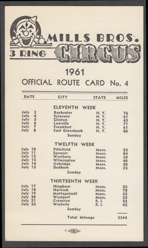 Mills Bros Circus Official Route Card 4 1961 New York Massachusetts Rhode Island