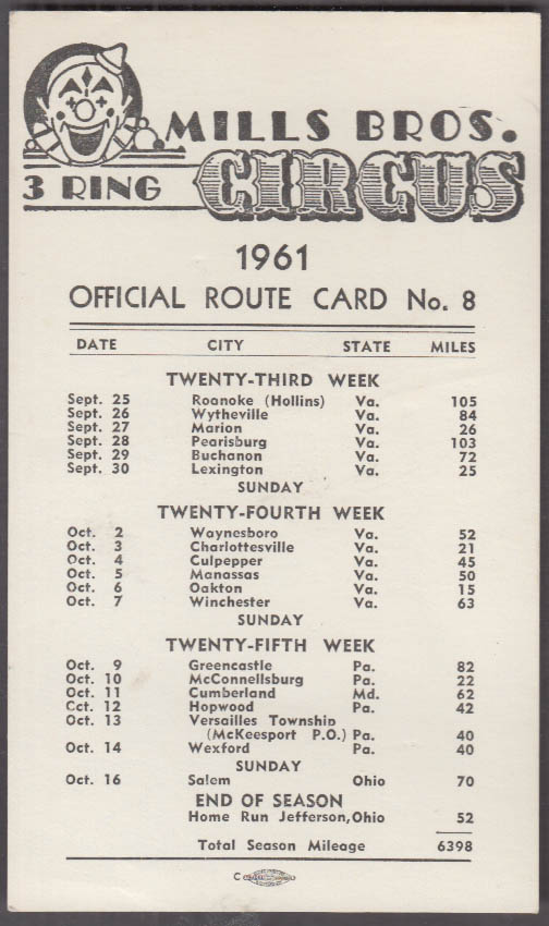 Mills Bros Circus Official Route Card 8 1961 Virginia Pennsylvania Maryland Ohio