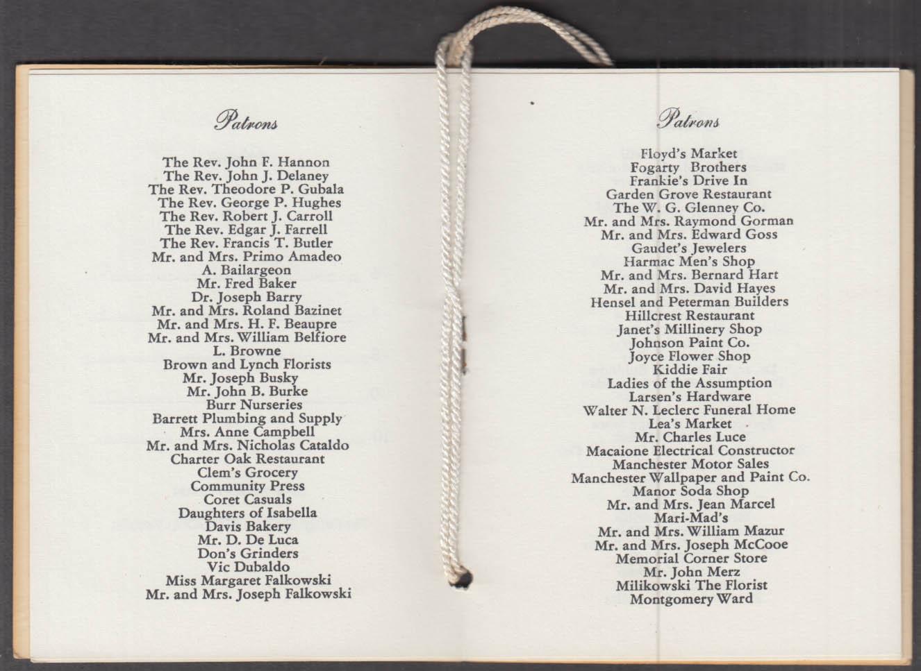 St Bridget's & St James CYO Snowball Dance Card Manchester CT 1954