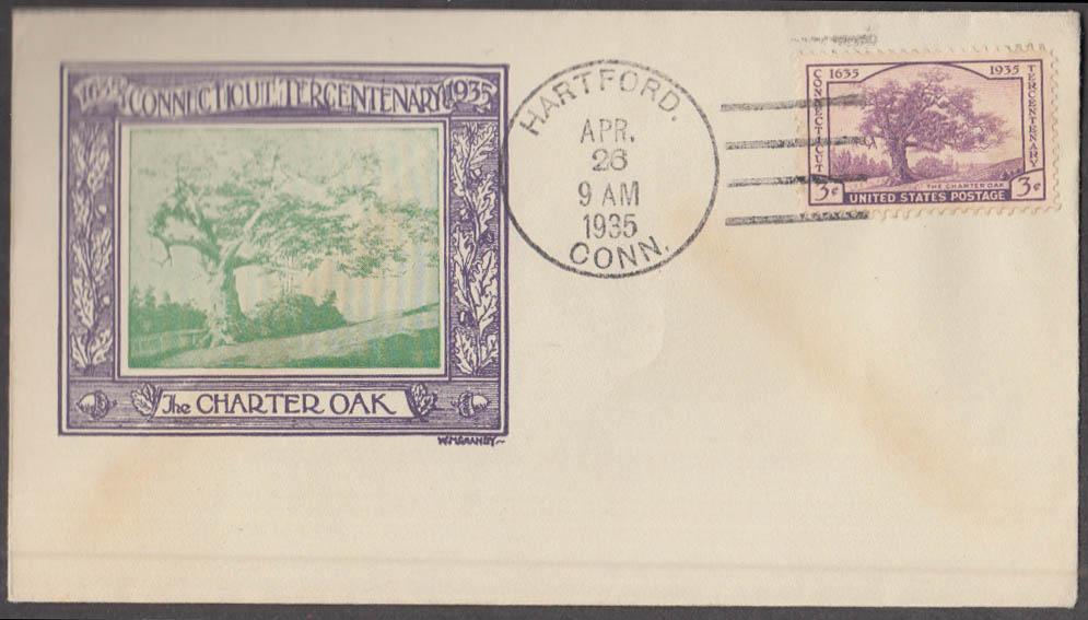 Connecticut Tercentenary Charter Oak cachet First Day Cover green variant 1935
